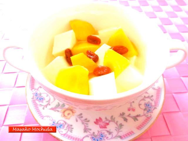 ◆モッチーママの大和薬膳料理 ◆第40回「◆血液サラサラ!梅酒仕立ての杏仁豆腐♪」